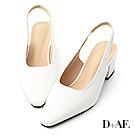 D+AF 韓系風尚.素面微尖頭後空中跟鞋*白