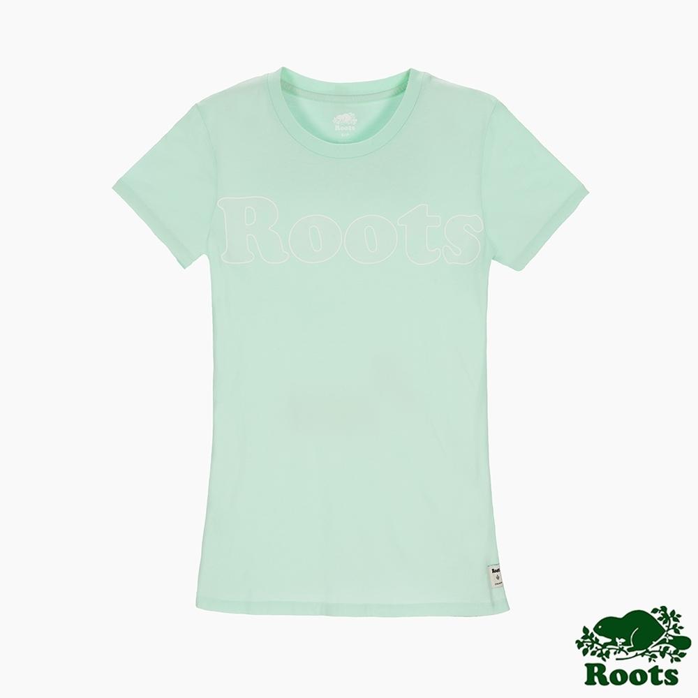 女裝Roots 光變色大logo短袖T恤-綠色