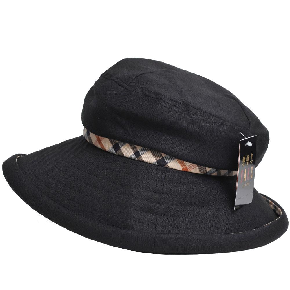 DAKS 日本製抗UV科技纖維格紋造型滾邊LOGO造型帽(黑)