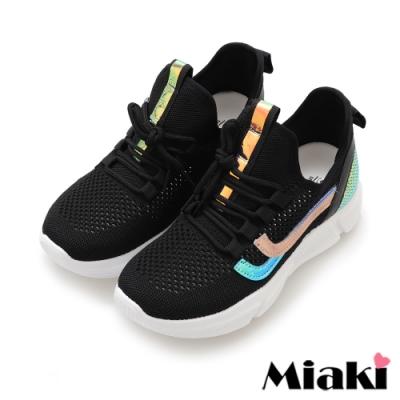Miaki-休閒鞋飛織透氣反光厚底運動鞋-黑