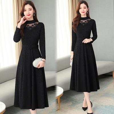【韓國K.W.】(預購)甜心復古百搭蕾絲長袖洋裝-3色
