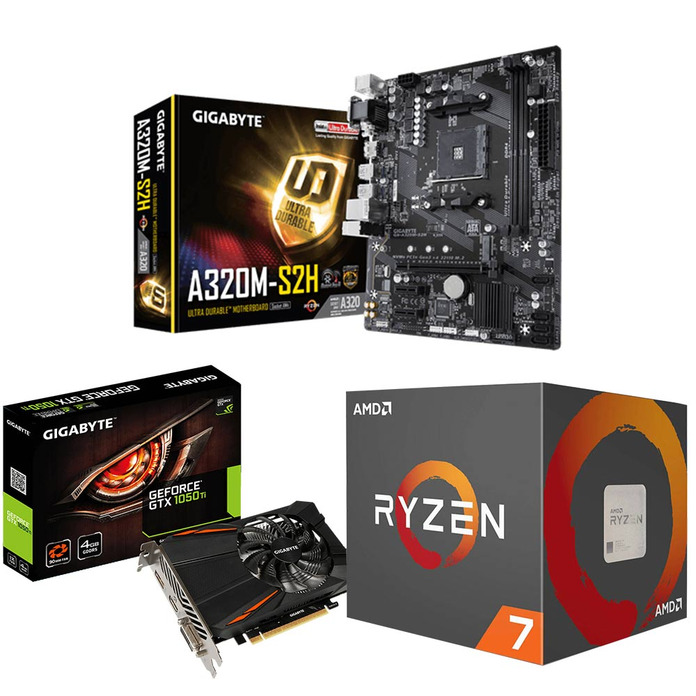 AMD Ryzen7 2700+技嘉A320M-S2H+技嘉GTX1050Ti 超值組