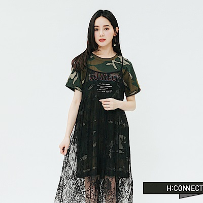 H:CONNECT 韓國品牌 女裝-蕾絲搭配兩件式洋裝-綠