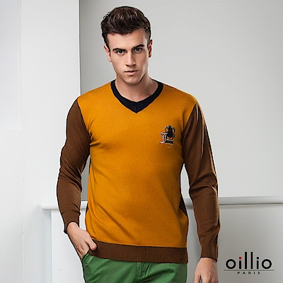 oillio歐洲貴族 長袖V領毛衣 保暖純羊毛毛料 黃色