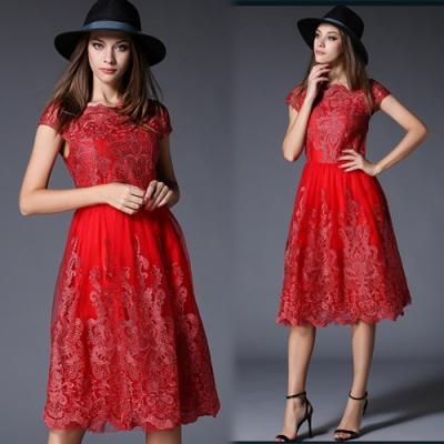 【韓國K.W.】(現貨)名媛氣質刺繡網紗洋裝(共1色)