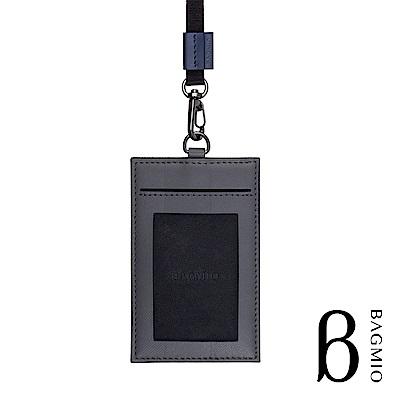 BAGMIO authentic 人字紋牛皮3卡直式證件套 深灰 附織帶