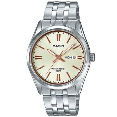CASIO 雜誌型男風格不鏽鋼腕錶-黃(MTP-1335D-9A)