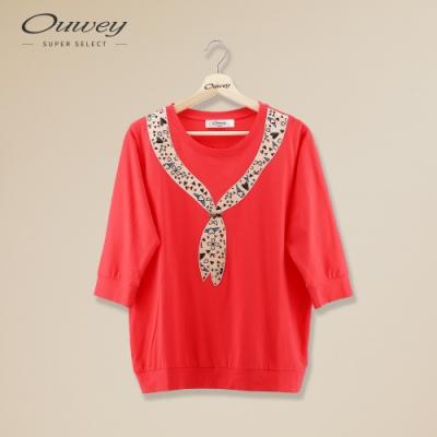 OUWEY歐薇 亮麗仿絲巾造型七分連袖上衣(紅)