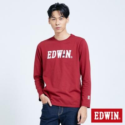 EDWIN 塗鴉LOGO 薄長袖T恤-男-朱紅色