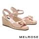 涼鞋 MELROSE 清新草編蝴蝶結羊皮楔型高跟涼鞋-粉 product thumbnail 1