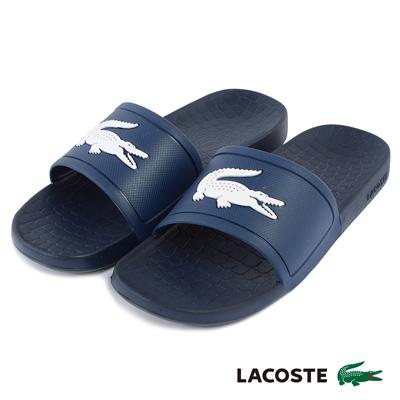 LACOSTE 男用休閒拖鞋-藍色
