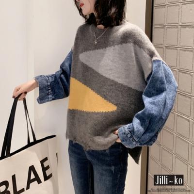 JILLI-KO 牛仔針織拼接撞色毛上衣- 灰色