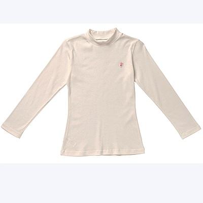 嬪婷-小童120.140 內搭立領長袖(白)有機棉-環保素材-吸濕透氣
