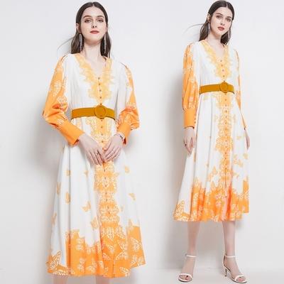 杏黃蝴蝶印花燈籠袖排扣長洋裝M-2XL-M2M