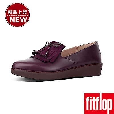 FitFlop TESSA FRINGED LOAFERS-梅紅色