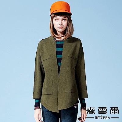 【麥雪爾】羊毛小香風寬鬆針織外套-綠