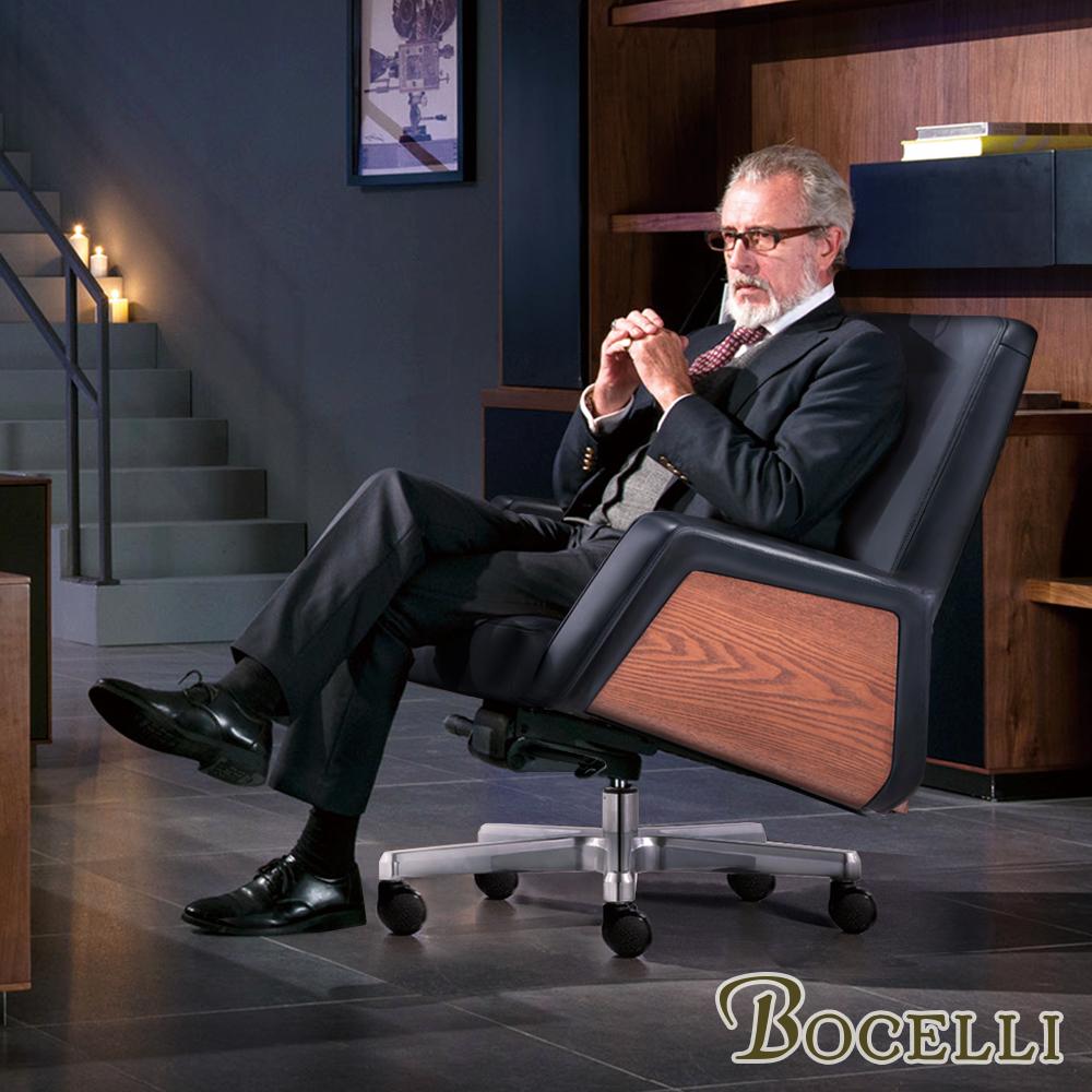 BOCELLI-MESTIERI工藝風尚中背辦公椅(義大利牛皮)經典黑