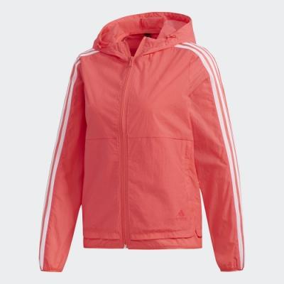 adidas 連帽外套 運動 休閒 風衣 女款 粉橘 FM9260 3-Stripes Jacket