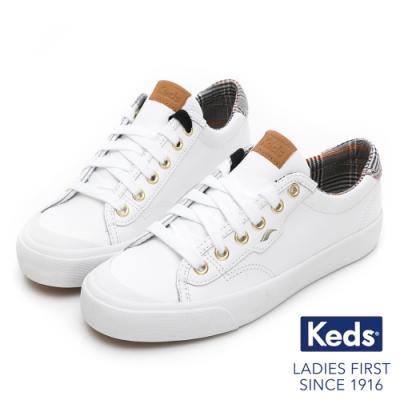 Keds CREW KICK 蘇格蘭紋撞色皮革休閒鞋-白