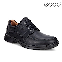 ECCO FUSION 舒適緩震休閒皮鞋 男-黑