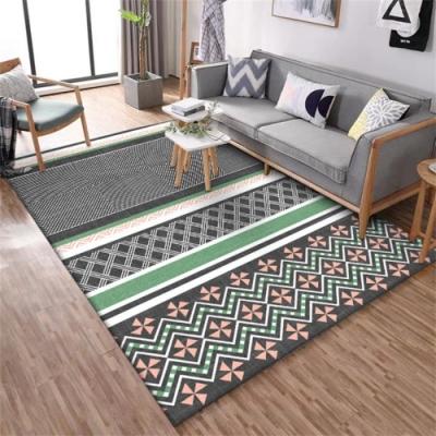 BUNNY LIFE 幾何拼接灰綠粉-北歐風舒柔水晶絨地毯