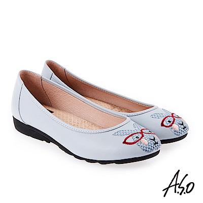 A.S.O 活耀品味 真皮柔軟刺繡娃娃鞋 淺藍