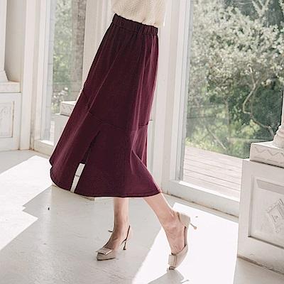 高含棉全鬆緊腰頭剪裁設計魚尾裙-OB大尺碼