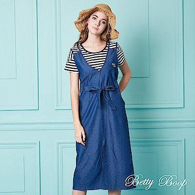 Betty Boop貝蒂 前開衩雙吊帶牛仔洋裝(藍色)
