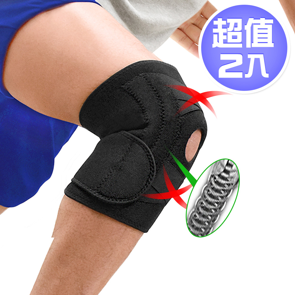 寬版X加壓雙彈簧護膝蓋(兩入)