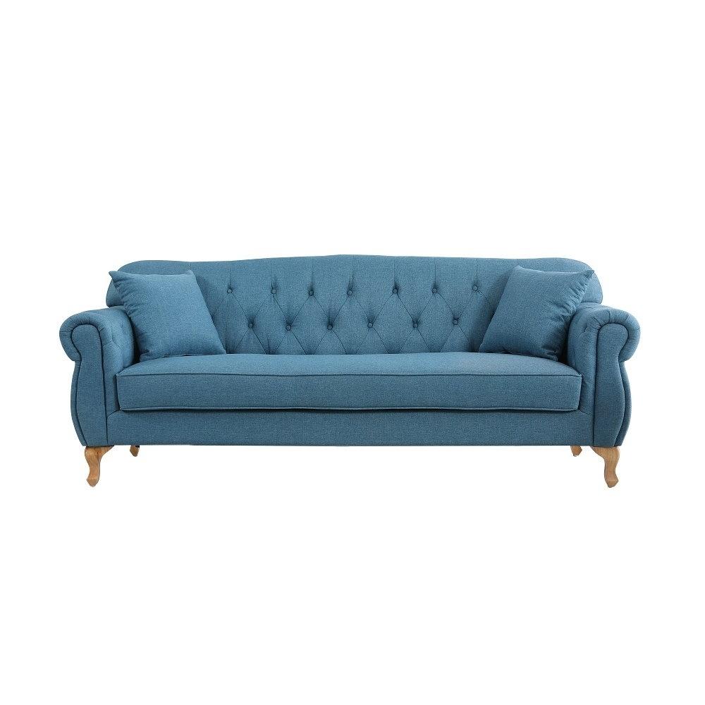 MUNA 米洛斯藍色三人布沙發 208X81X85cm