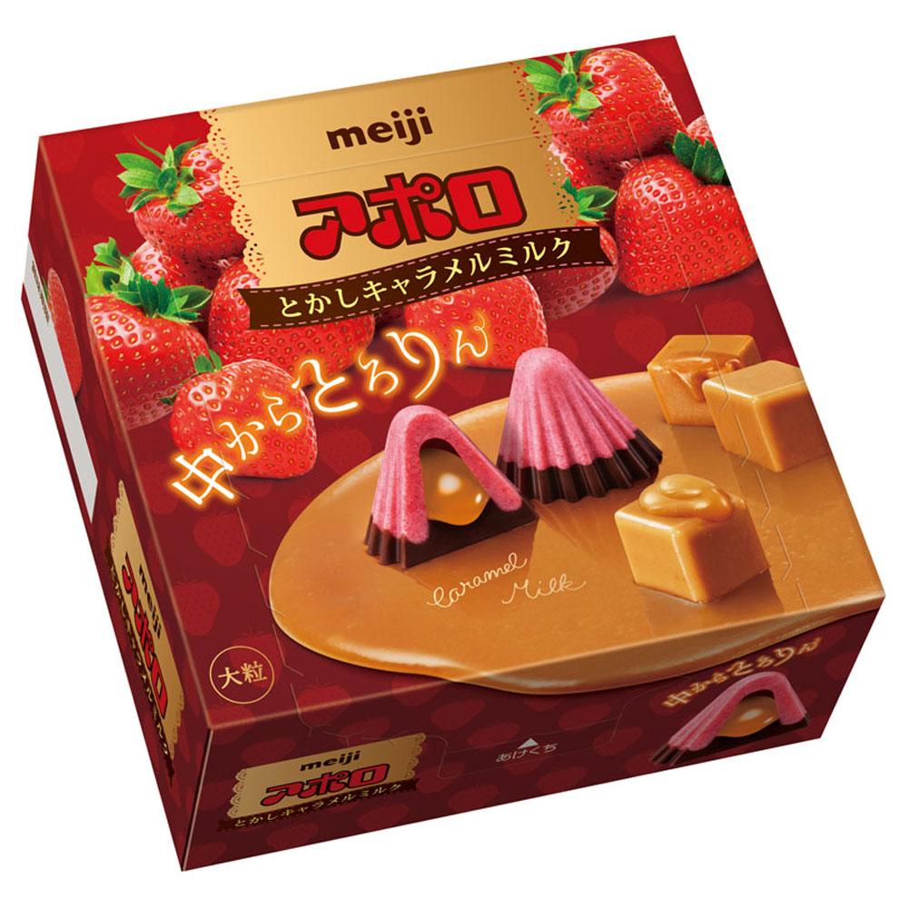 明治 阿波羅草莓夾餡巧克力-焦糖口味(44g)