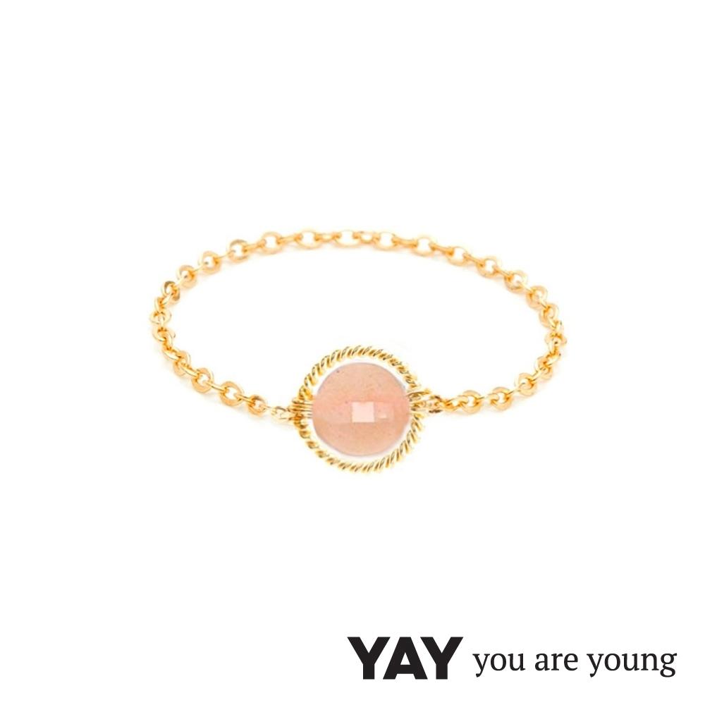 YAY You Are Young 法國品牌 Riviera 太陽石鍊戒 金色圓形款