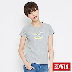 EDWIN 立體字型印花短袖T恤-女-麻灰