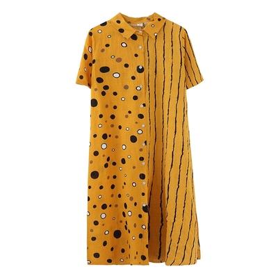 米蘭精品 連身裙短袖洋裝-翻領波點條紋印花女裙子3色73xz21