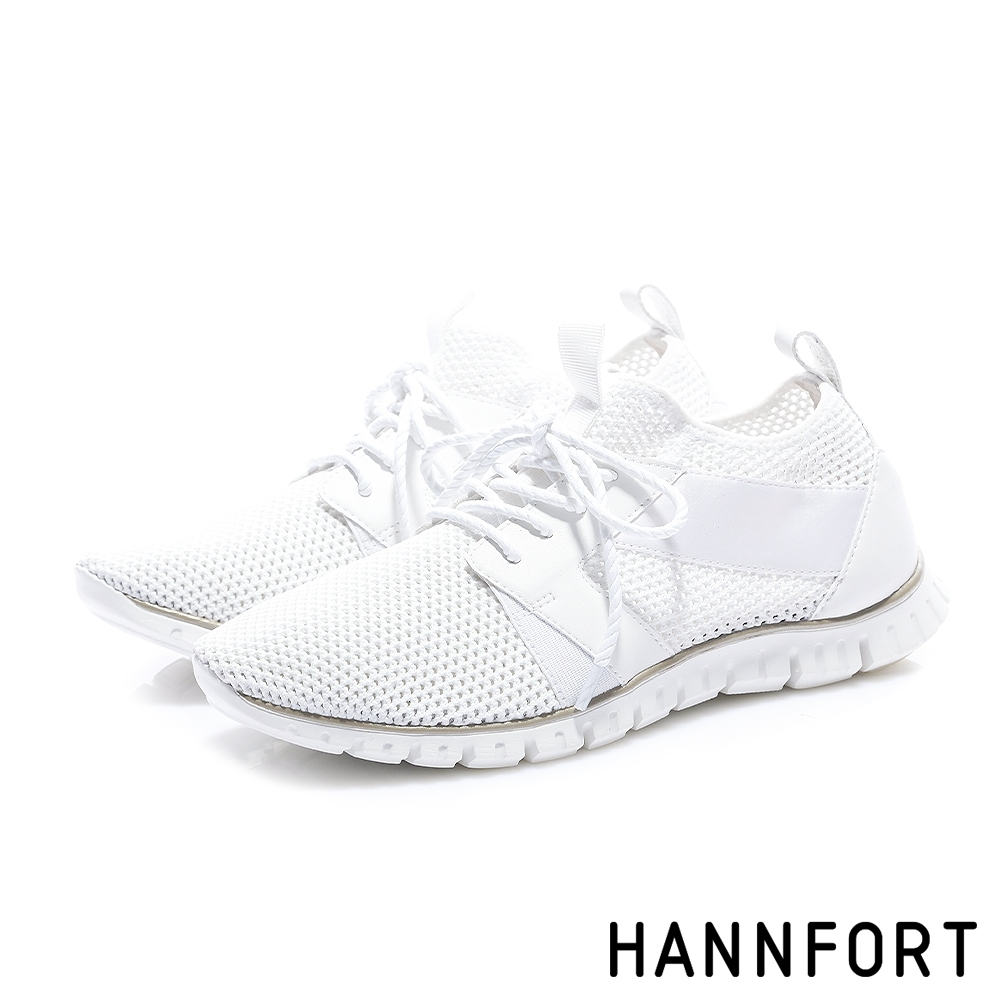 HANNFORT ZERO GRAVITY 編織透氣輕運動休閒鞋-女-白