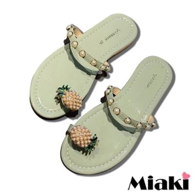 Miaki-拖鞋可愛珍珠平底涼鞋-綠