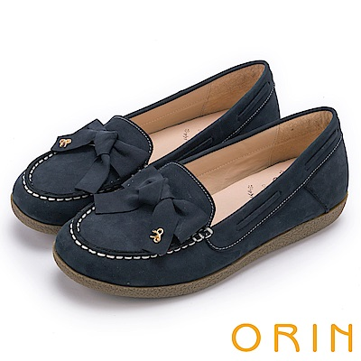 ORIN 經典復古時尚 真皮手縫蝴蝶結平底鞋-藍色