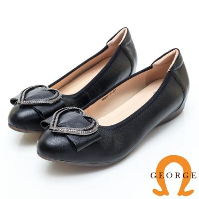 GEORGE 喬治皮鞋 心型水鑽蝴蝶結真皮尖頭娃娃鞋-黑色