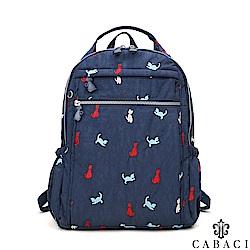 CABACI 淘氣小貓繡線輕量防潑水手提後背包-藍色