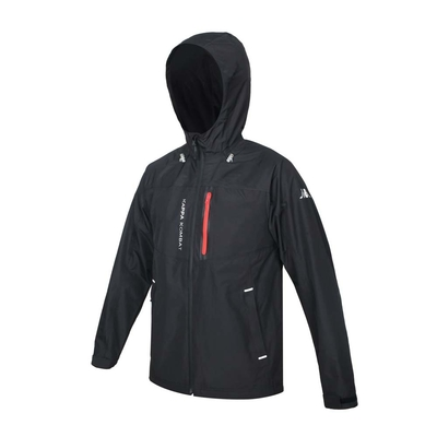 KAPPA 男防水貼條外套+網裡-平織 防風 防小雨 反光 休閒 37172UW-005 黑紅