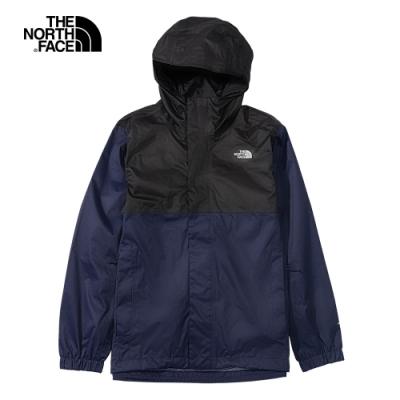 The North Face 男 防水透氣連帽衝鋒衣 藍黑 -NF0A5B43L4U