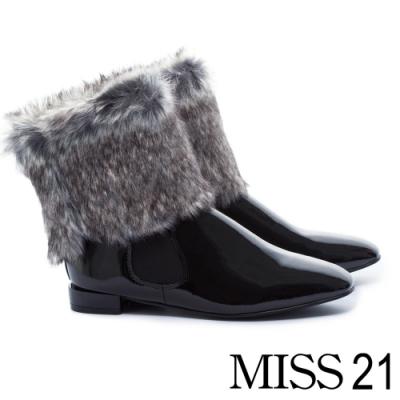 低跟鞋 MISS 21 復古極簡派保暖兩穿式方頭低跟鞋-黑