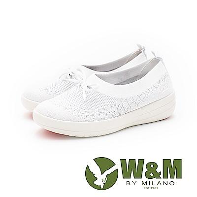 W&M 飛線系列 免綁帶蝴蝶結彈力休閒 女鞋-白(另有淺藍、黑)