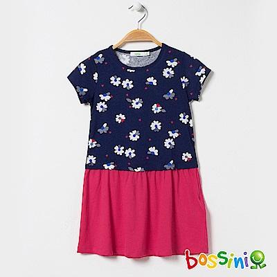 bossini女童-印花連身洋裝01海軍藍