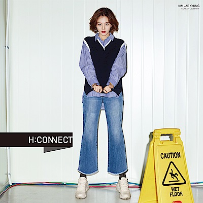 H:CONNECT 韓國品牌 女裝-簡約刷色不收邊牛仔寬褲-藍
