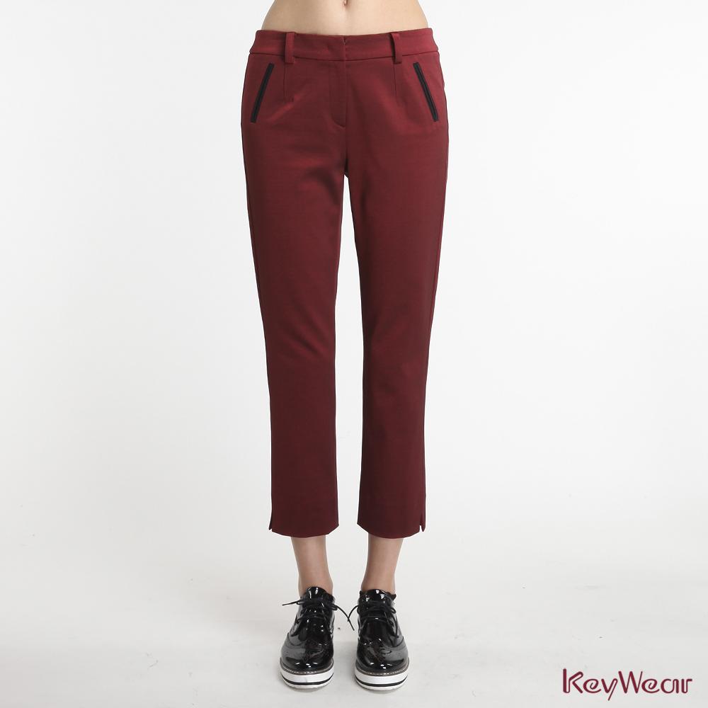 KeyWear奇威名品    精緻商務舒適透氣九分褲-紅色