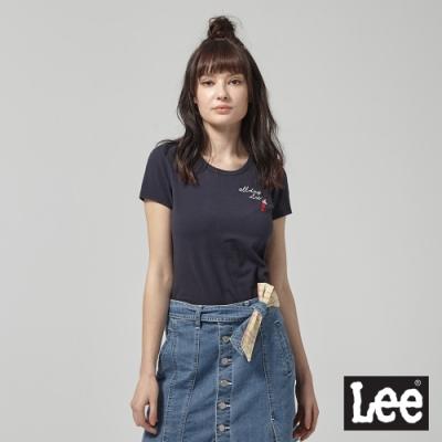 Lee短袖T恤 All day Lee刺繡短袖圓領T-女-藍