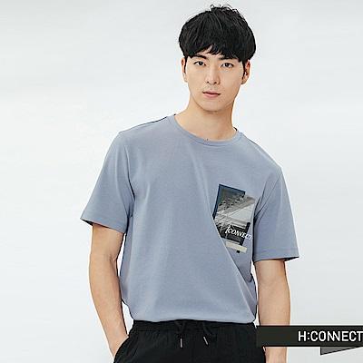 H:CONNECT 韓國品牌 男裝-重疊圖像印字T-shirt-藍