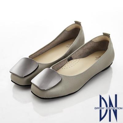 DN 知性素雅 金屬方釦拼接真皮低跟平底鞋-灰