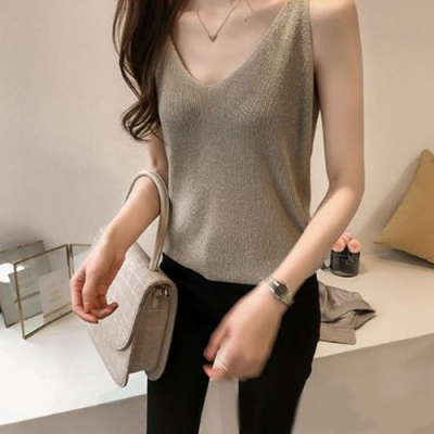 2F韓衣-簡約素色亮絲無袖造型背心-2色(F)